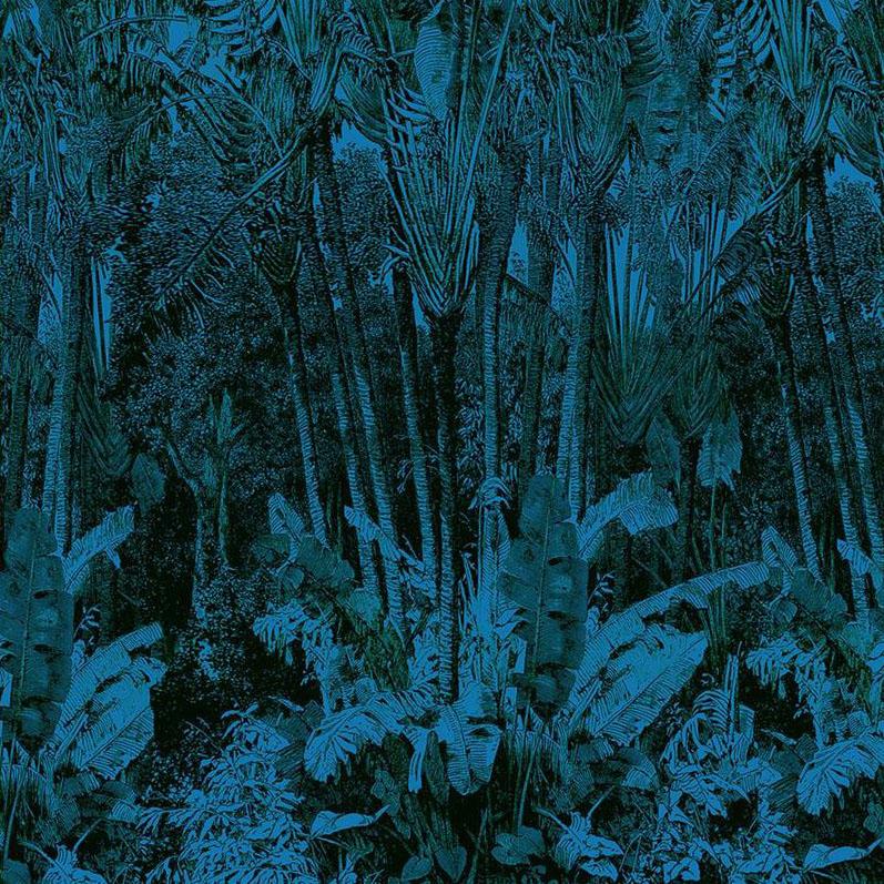 Casamance panoramisch behang Arbre du Voyageur blauw