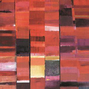 Casamance panoramisch behang Cadence Degradee rood