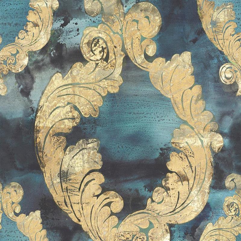 Casamance panoramisch behang Dames Damas blauw