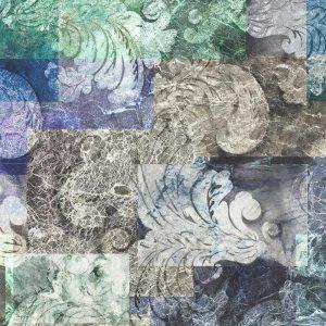 Casamance panoramisch behang De Marbre et Acanthe blauw