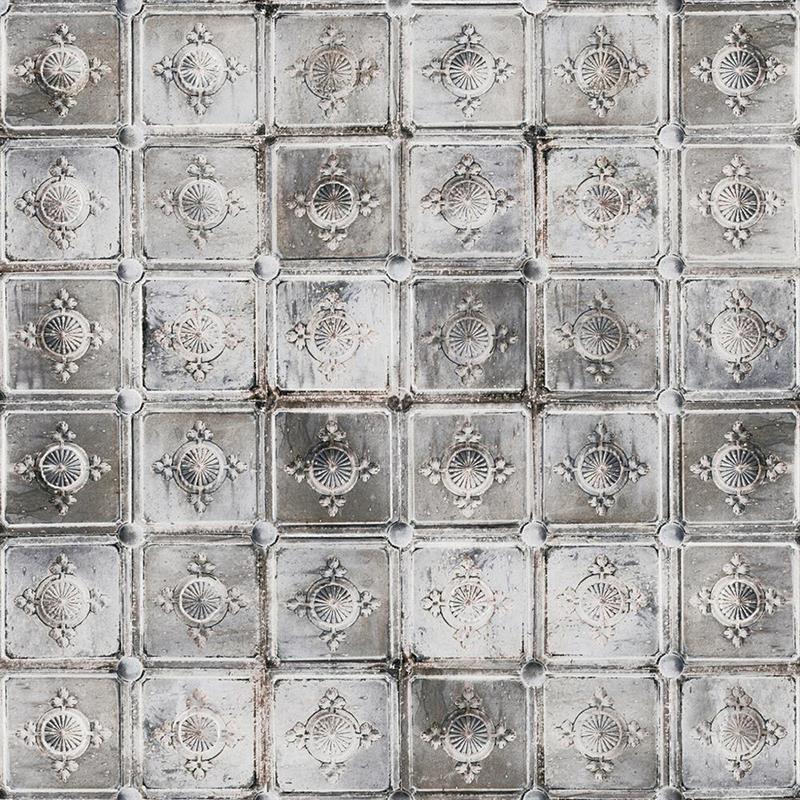 Casamance panoramisch behang Metal Carre grijs