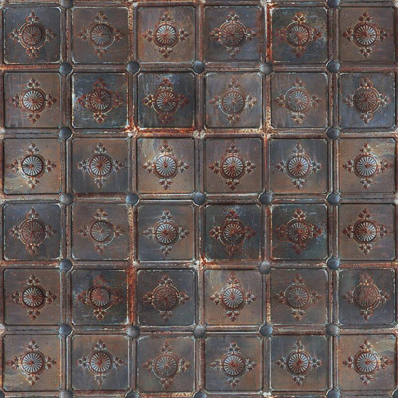 Casamance panoramisch behang Metal Carre roest