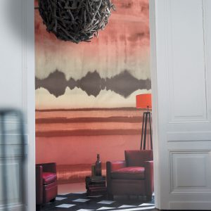 Casamance panoramisch behang Encre de Chine rood