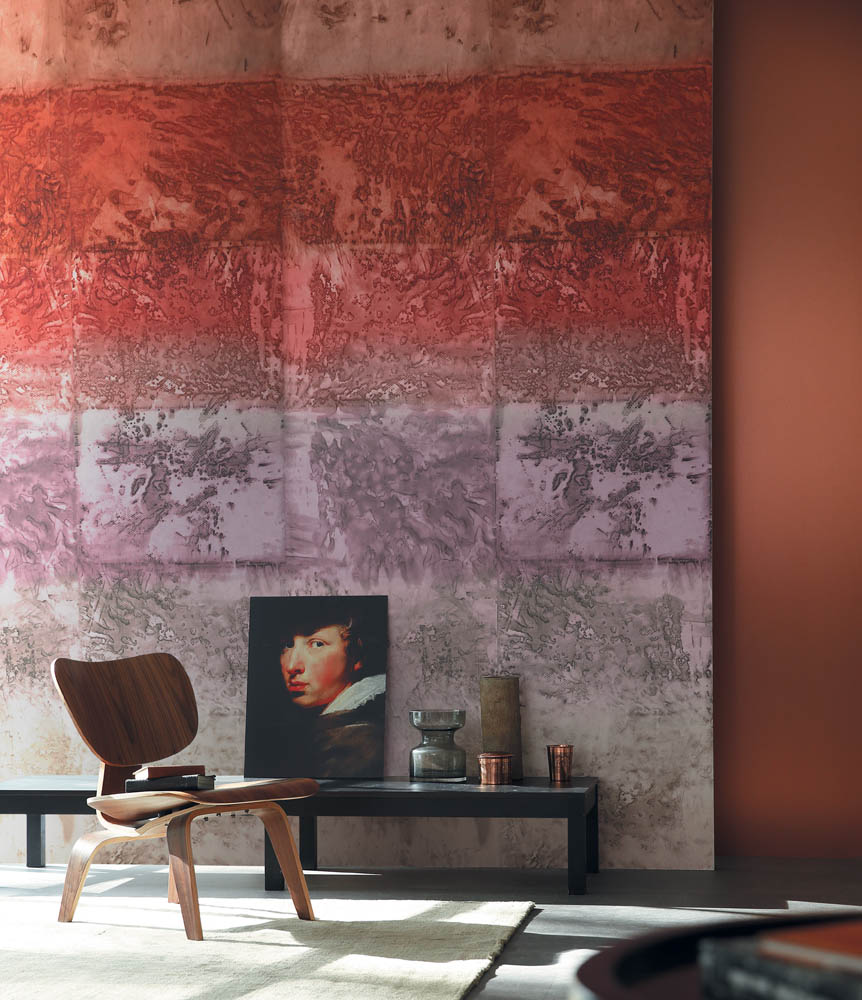 Casamance panoramisch behang Expression Minerale rood