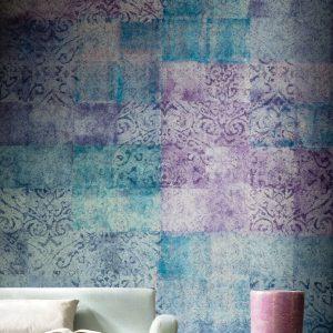 Casamance panoramisch behang Ghali Patchwork lila