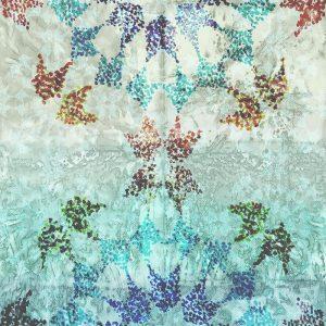 Casamance panoramisch behang Pointilleuse Rosace blauw