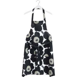 Marimekko keukenschort Pieni Unikko zwart