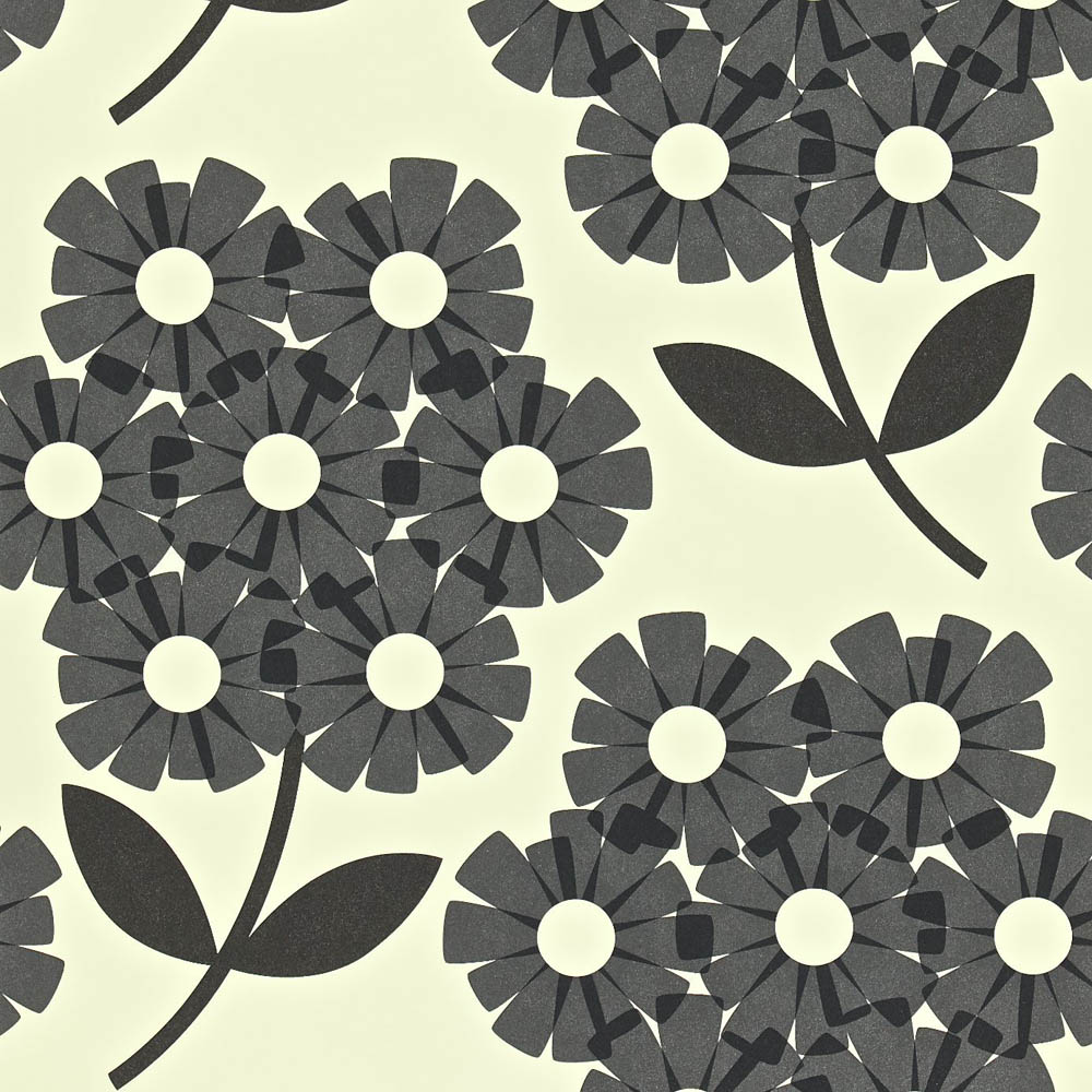 Orla Kiely behang Giant Rhododendron Black