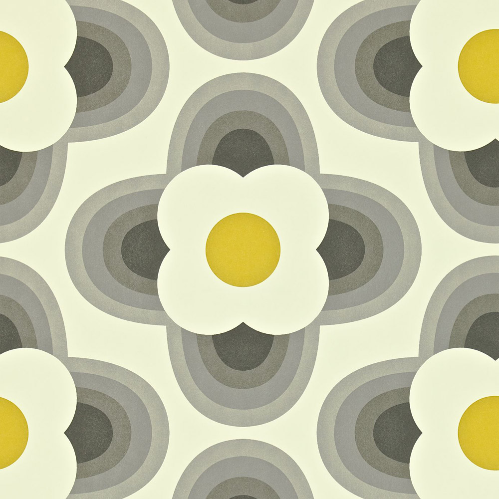 Orla Kiely behang Striped Petal Pebble