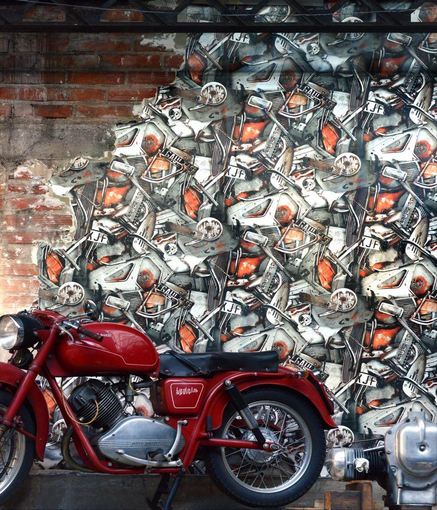 Jean Paul Gaultier behang Carambolage Petrol