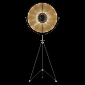 Fortuny Studio 76 staande driepoot lamp zwart - bladgoud