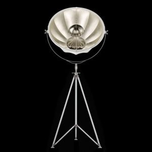 Fortuny Studio 76 staande driepoot lamp wit - bladzilver