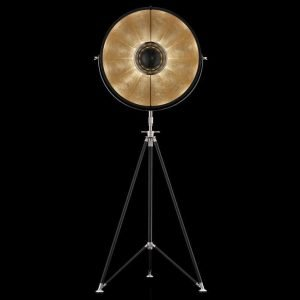 Fortuny Studio 63 staande driepoot lamp zwart - bladgoud