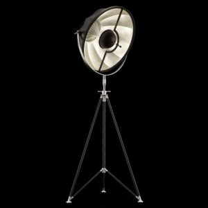 Fortuny Studio 63 staande driepoot lamp zwart - bladzilver