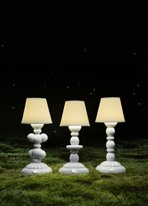 Lladró tafellamp Palm Firefly wit