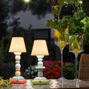 Lladró tafellamp Palm Firefly lichtblauw