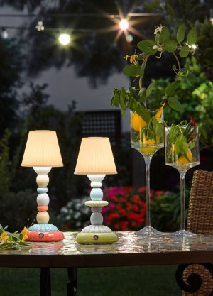 Lladró tafellamp Lotus Firefly groen-blauw