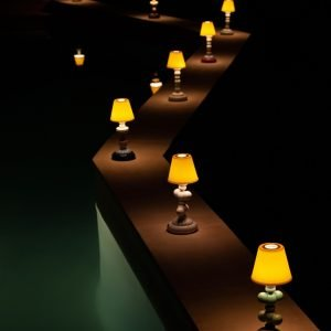Lladró tafellamp Sunflower Firefly blauw