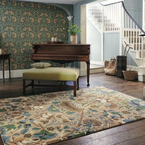 Morris & Co tapijt Lodden indigo-mineral