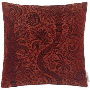 Morris & Co kussen Indian Flock Velvet Russet-Mulberry