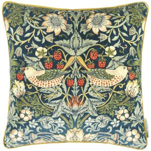 Morris & Co kussen Strawberry Thief Velvet Indigo-Thyme