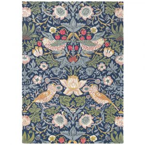 Morris & Co tapijt Strawberry Thief Indigo