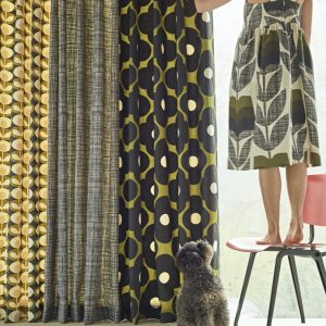 Orla Kiely gordijnstof Scribble Cool Grey