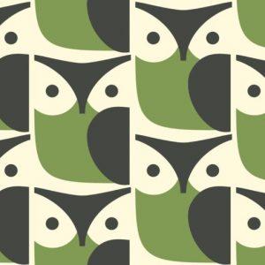 Orla Kiely meubelstof Owl Chalky Green