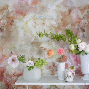 Designers Guild paneel behang Fleur De Nuit Pale Coral