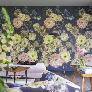 Designers Guild paneel behang Le Poeme De Fleurs Midnight