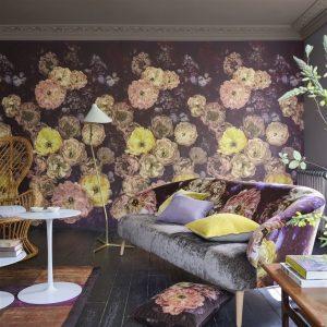 Designers Guild paneel behang Le Poeme De Fleurs Rosewood