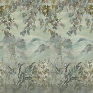 Designers Guild paneel behang Miyako Scene 1 Dove