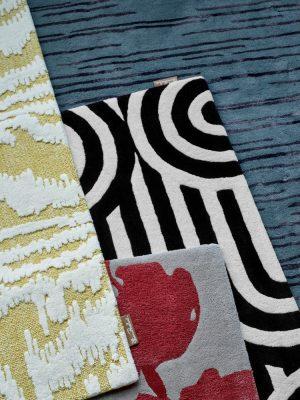 Florence Broadhurst tapijt Waterwave Stripe Citron