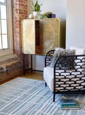 Florence Broadhurst tapijt Tortoiseshell Stripe Jade