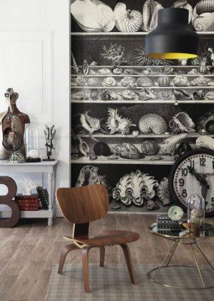 Casamance panoramisch behang Coquillages et Crustaces noir et blanc