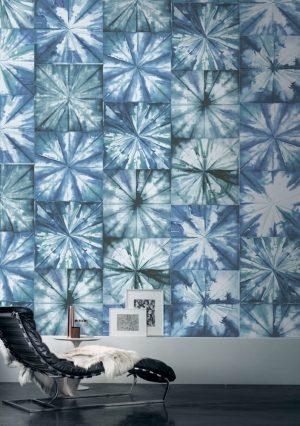 Casamance behang Fleurs Boreales blue