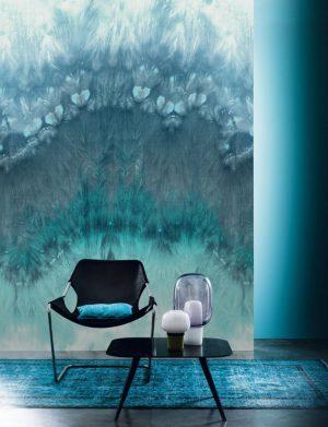 Casamance panoramisch behang Grenat blue