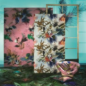 Christian Lacroix paneel behang Oiseau Fleur Graphite