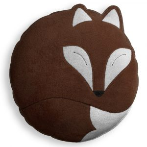 Leschi knuffelkussen Paco the Fox chocolade